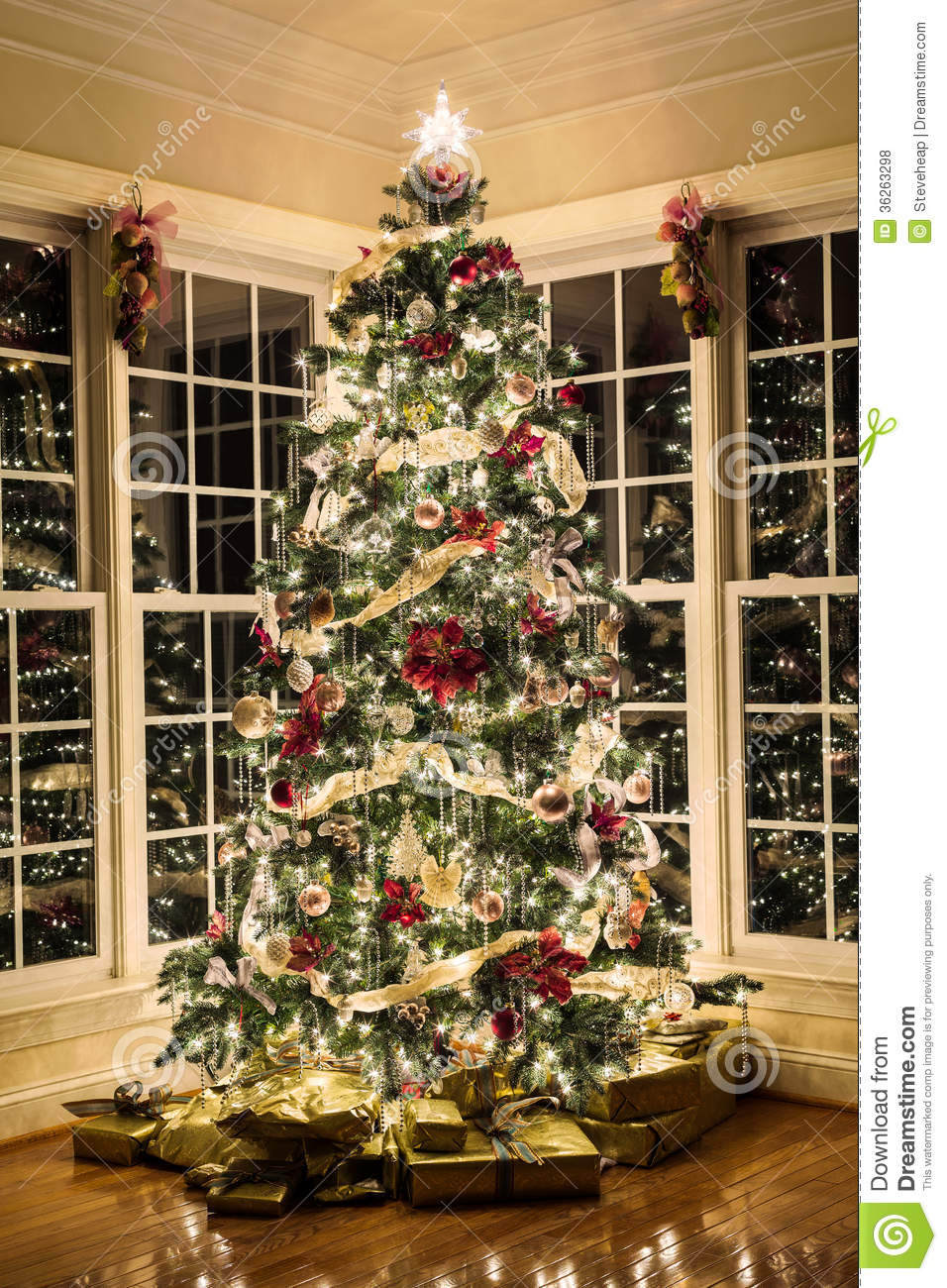 Beautiful Xmas Tree At Night Stock Photo - Image of modern, ornament ...