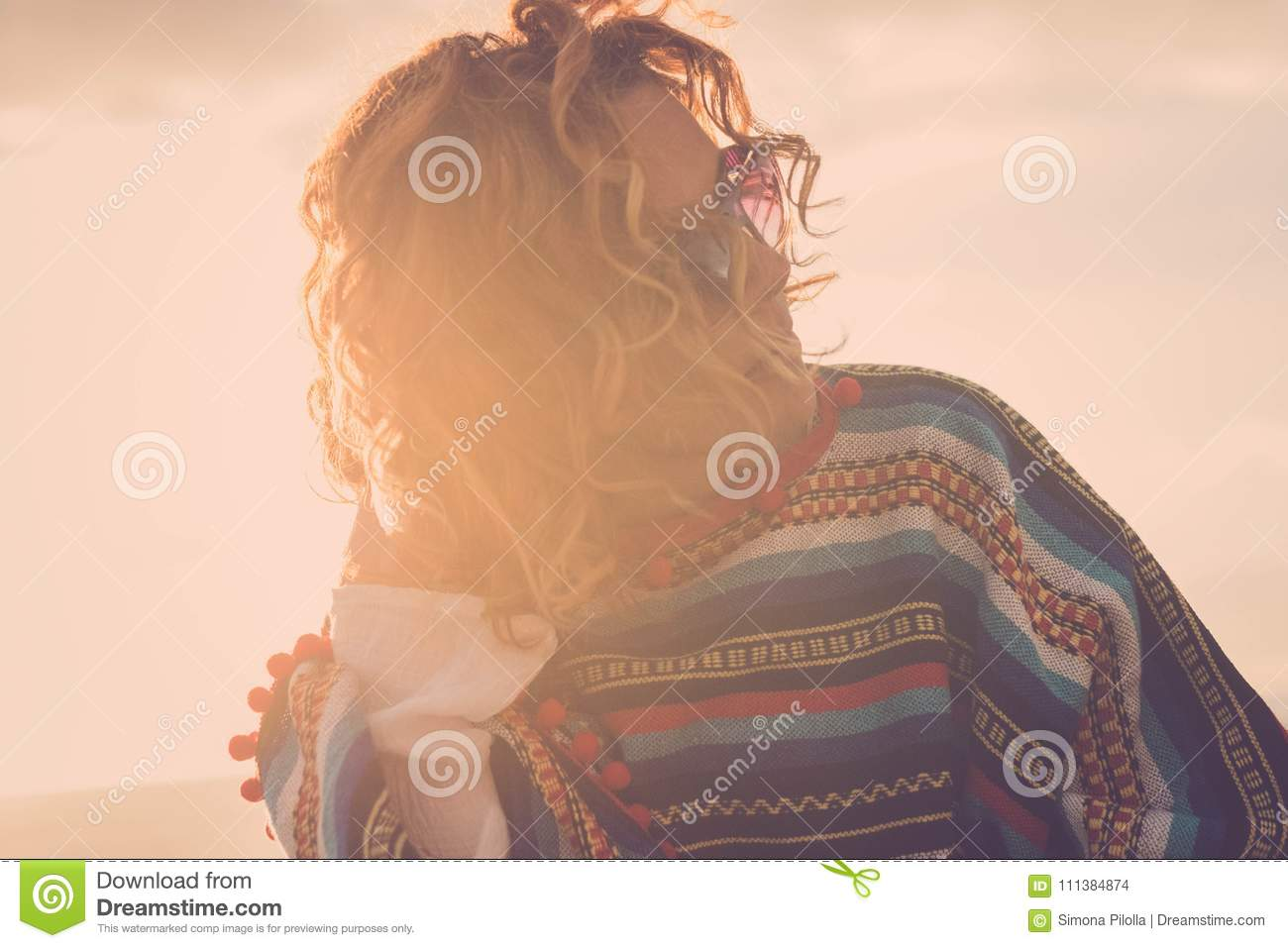 Beautiful 40 Years Old Woman Hippy With Aponcho Stock Photo Image