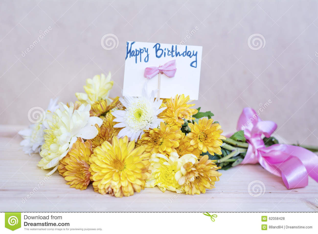 beautiful yellow chrysanthemums bouquet with happy birthday card, Beautiful flower