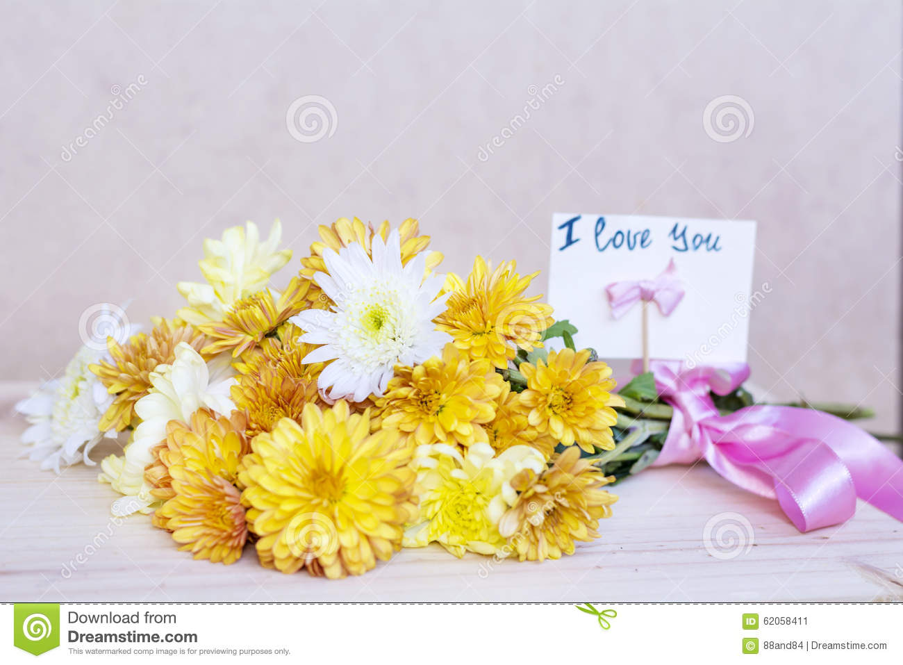 Beautiful Yellow Chrysanthemums Bouquet With I Love You Card Stock