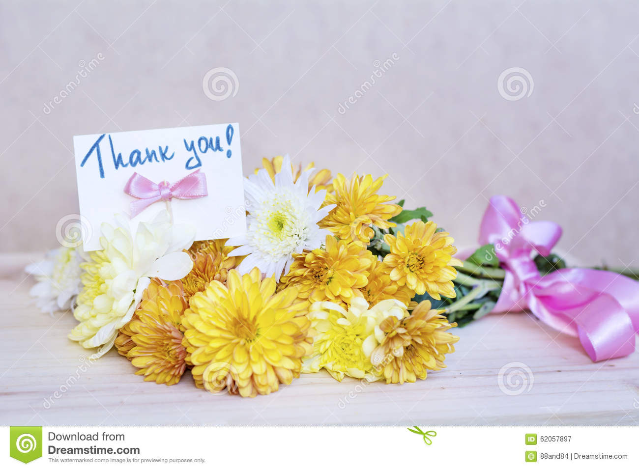 Beautiful yellow chrysanthemums bouquet with thank you card stock download beautiful yellow chrysanthemums bouquet with thank you card stock image image of event izmirmasajfo