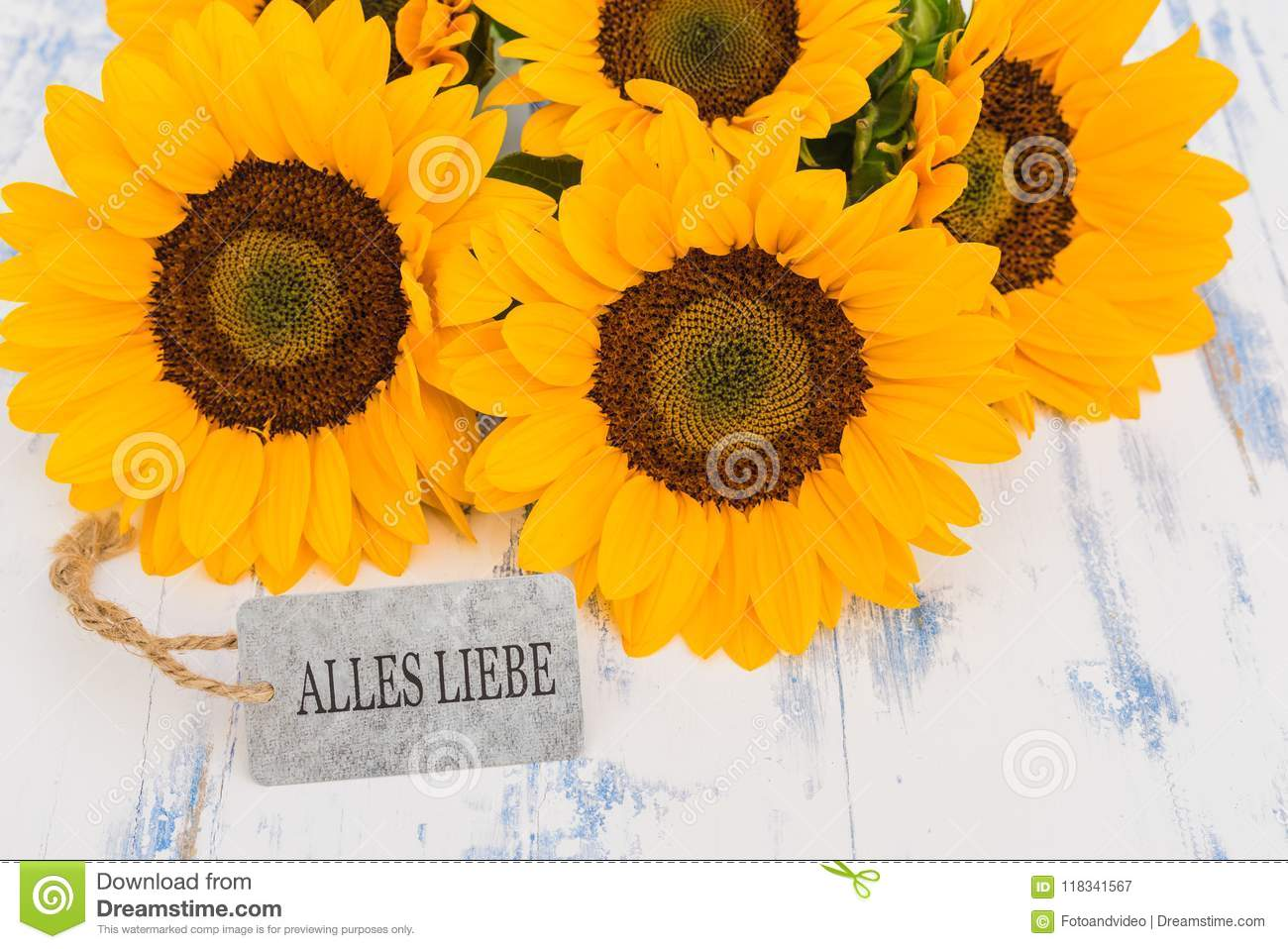 Beautiful Yellow Flowers With Greeting Card With German Text Alles