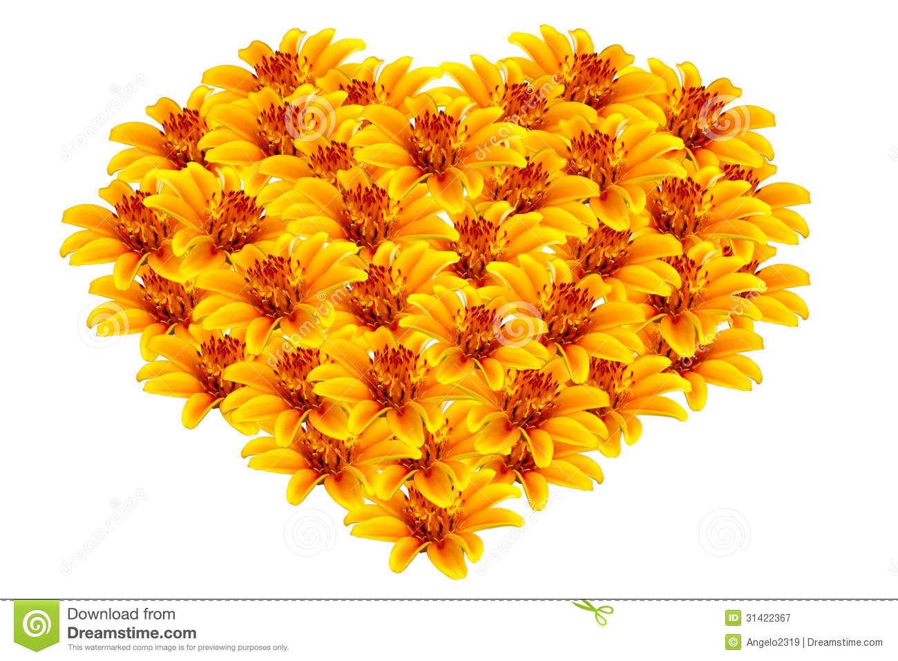 Decoration App Beautiful Yellow Flowers Heart Shaped Royalty Free Stock