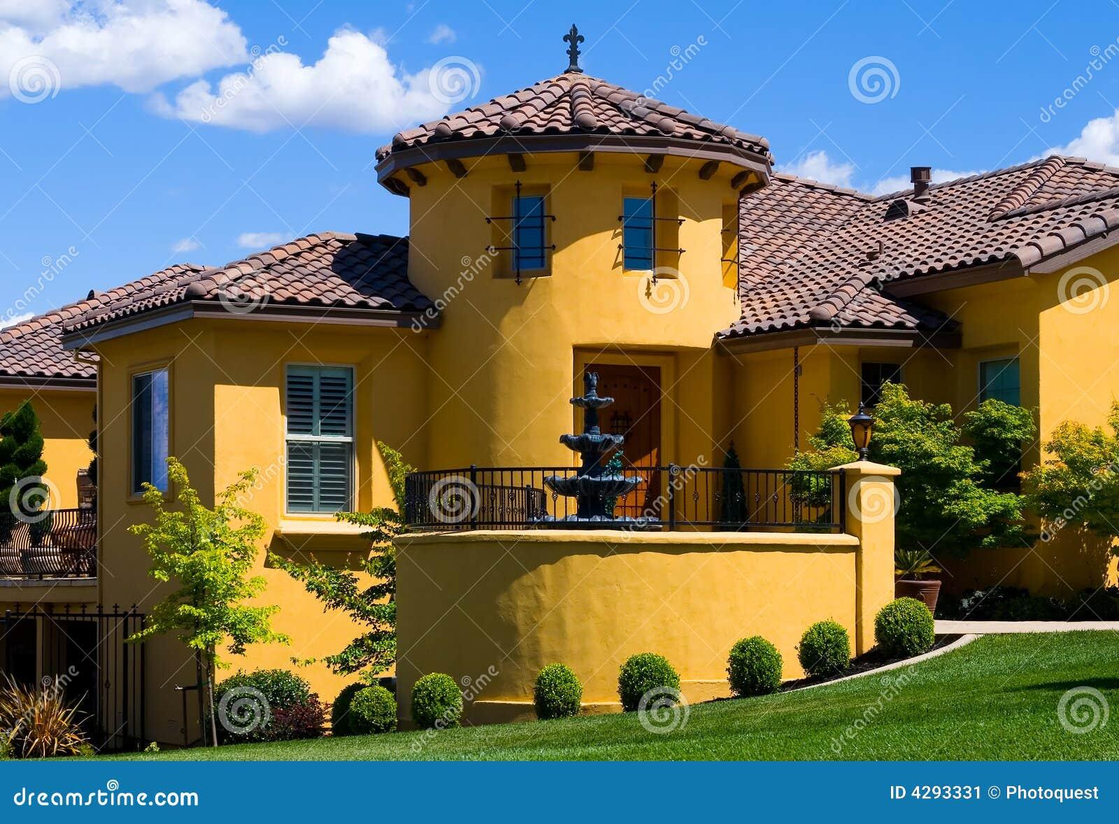 Beautiful Yellow Villa Stock Image Image Of Balcony Blue
