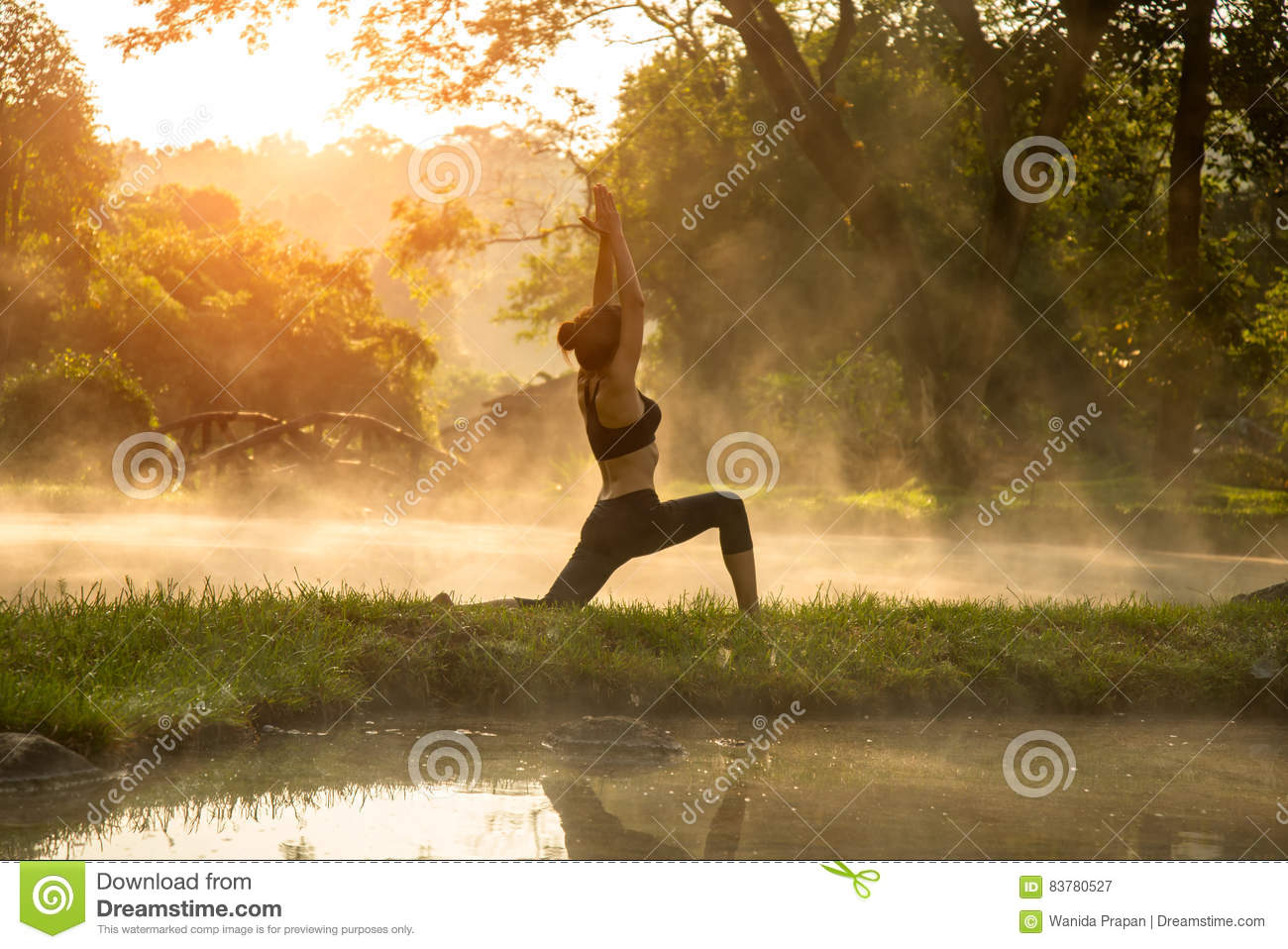 Download Beautiful Yoga Woman In The Morning At The Hot Spring Park Stock Image - Image of adult, healthy: 83780527