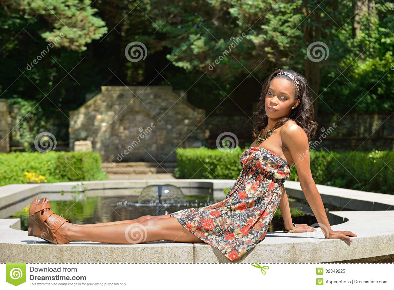 Beautiful Young African American Woman In Floral Sundress Royalty Free ...
