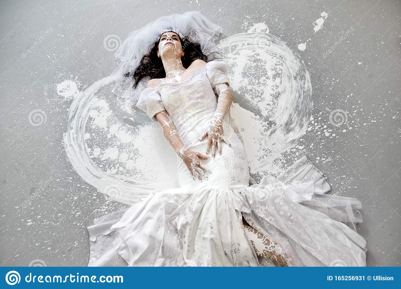 Beautiful Young Artistically Abstract Painted Woman Bride In Wedding Dress With White Paint Abstract Body Art On The Floor In Stock Image Image Of Female Bright 165256931
