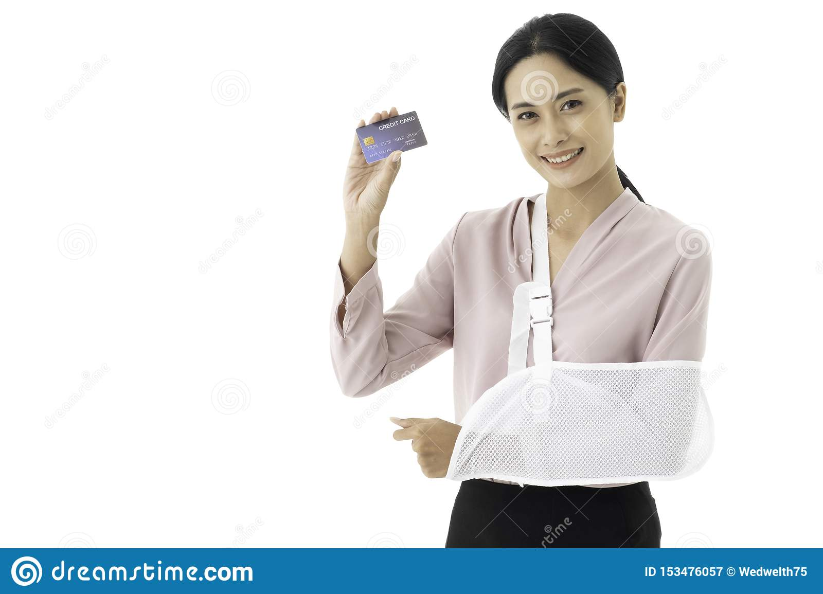 Beautiful young Asian woman is injured with a broken arm and put on arm sling