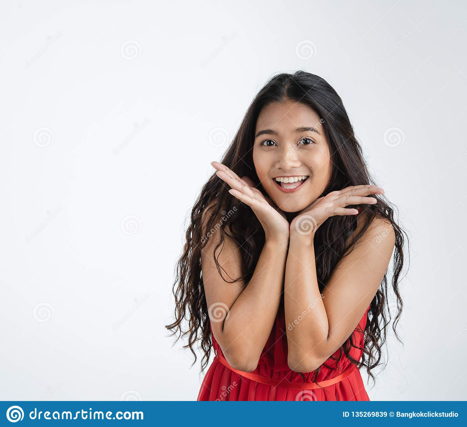 Beautiful woman feeling very happy excited