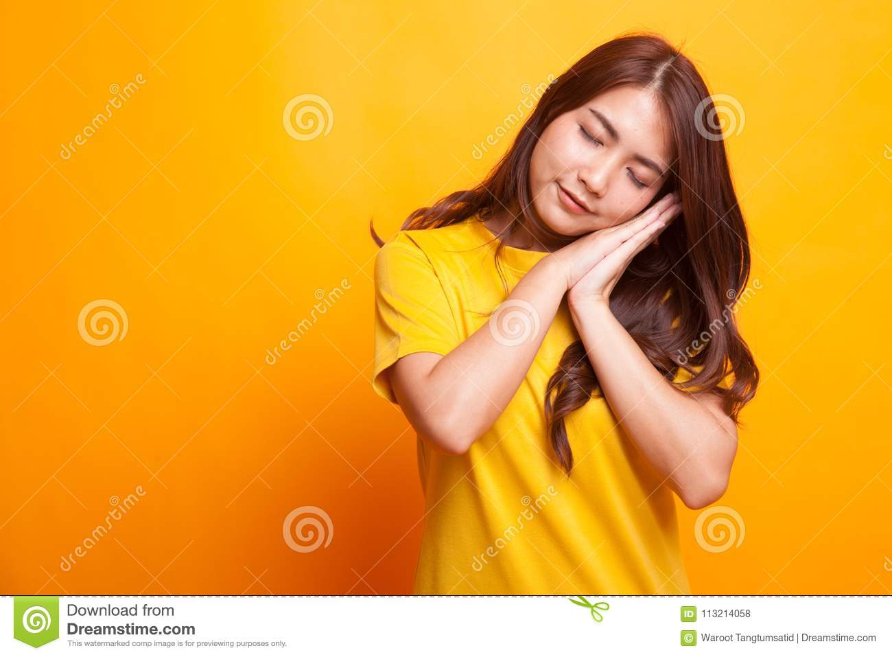 fc0d6eafcfe3 Beautiful Young Asian Woman With Sleeping Gesture. Stock Photo ...