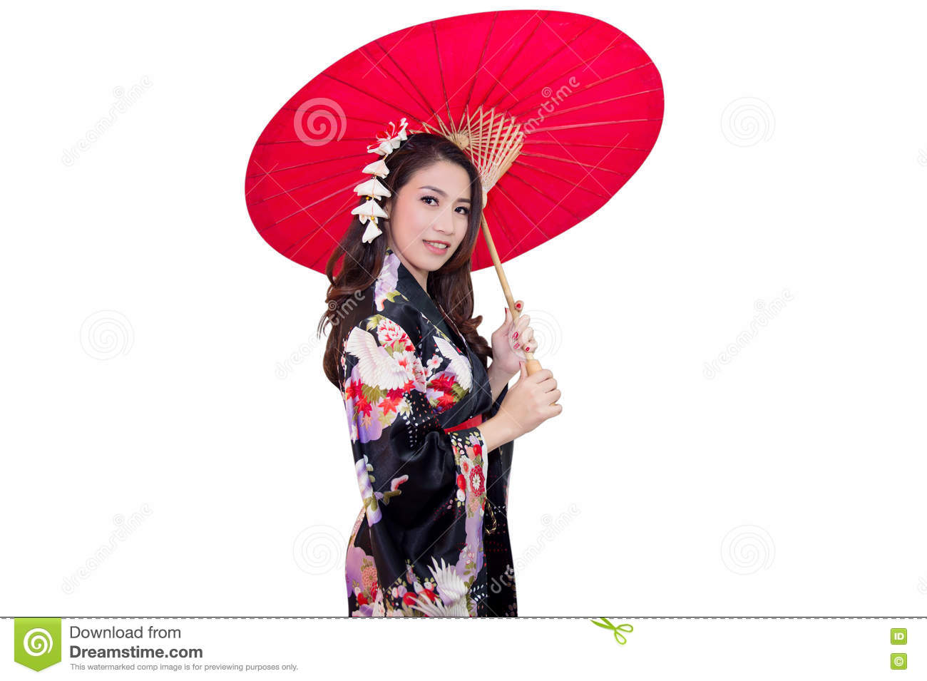 bfe1a8deb1a4e Beautiful young asian woman wearing traditional japanese kimono with red  umbrella isolated on white background.