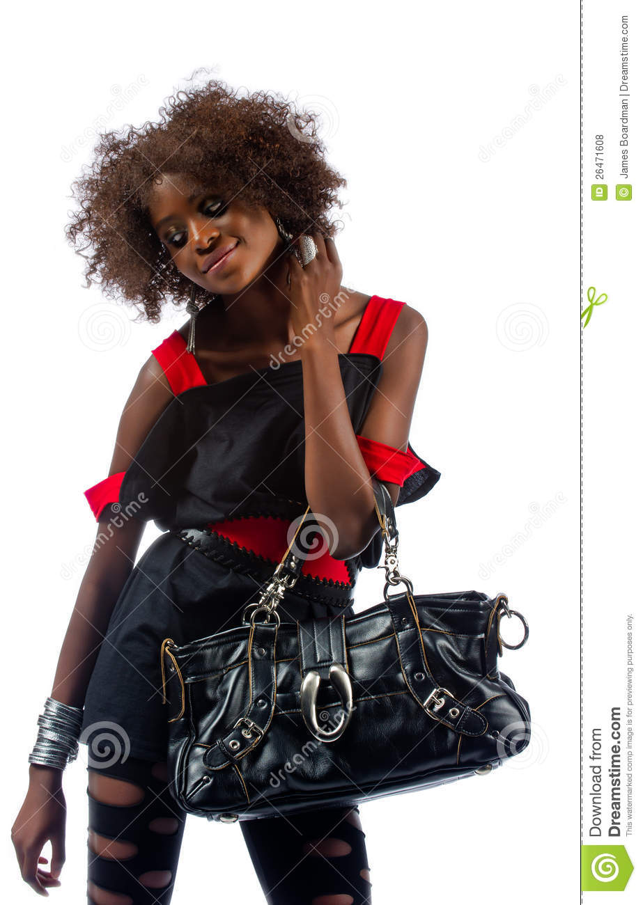 Beautiful Young Black Woman With Handbag Royalty Free -1225