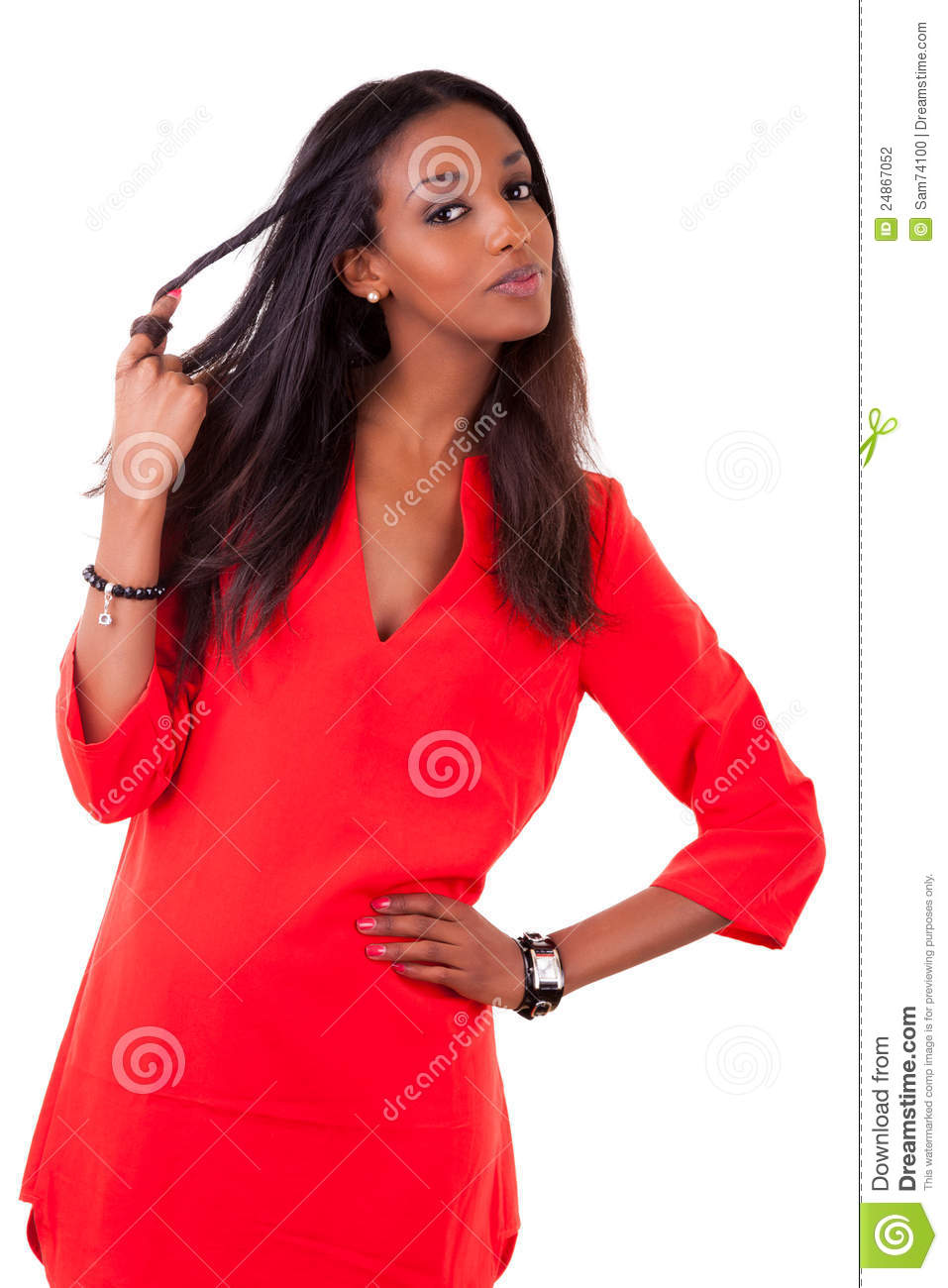 beautiful young black woman in red dress stock photography image