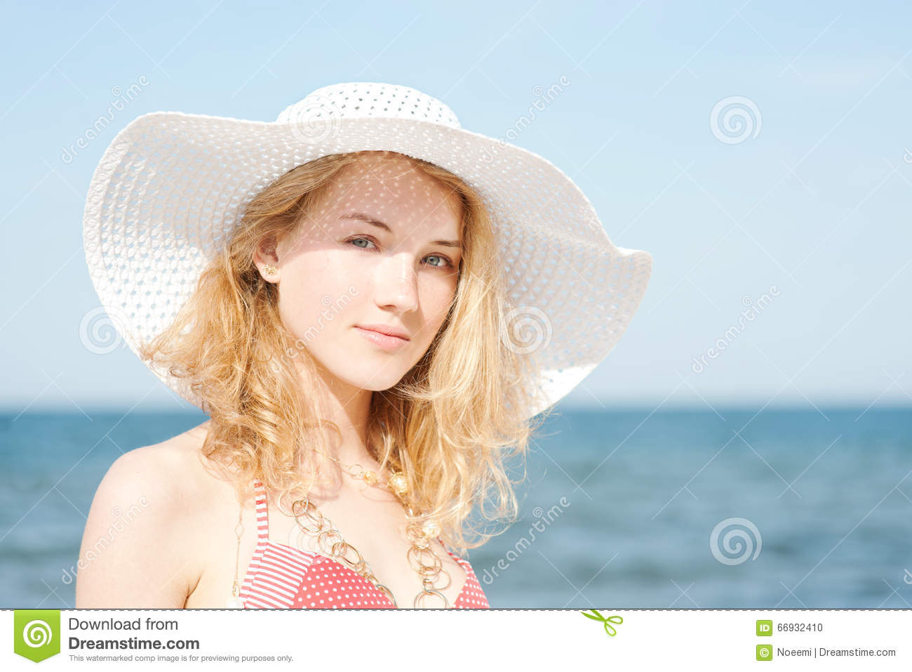 Beautiful Young Blond Woman With Beach Hat Royalty-Free ... - photo#7