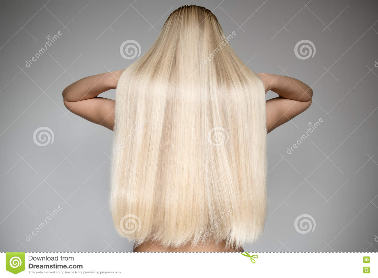 beautiful young blond woman with long straight hair stock