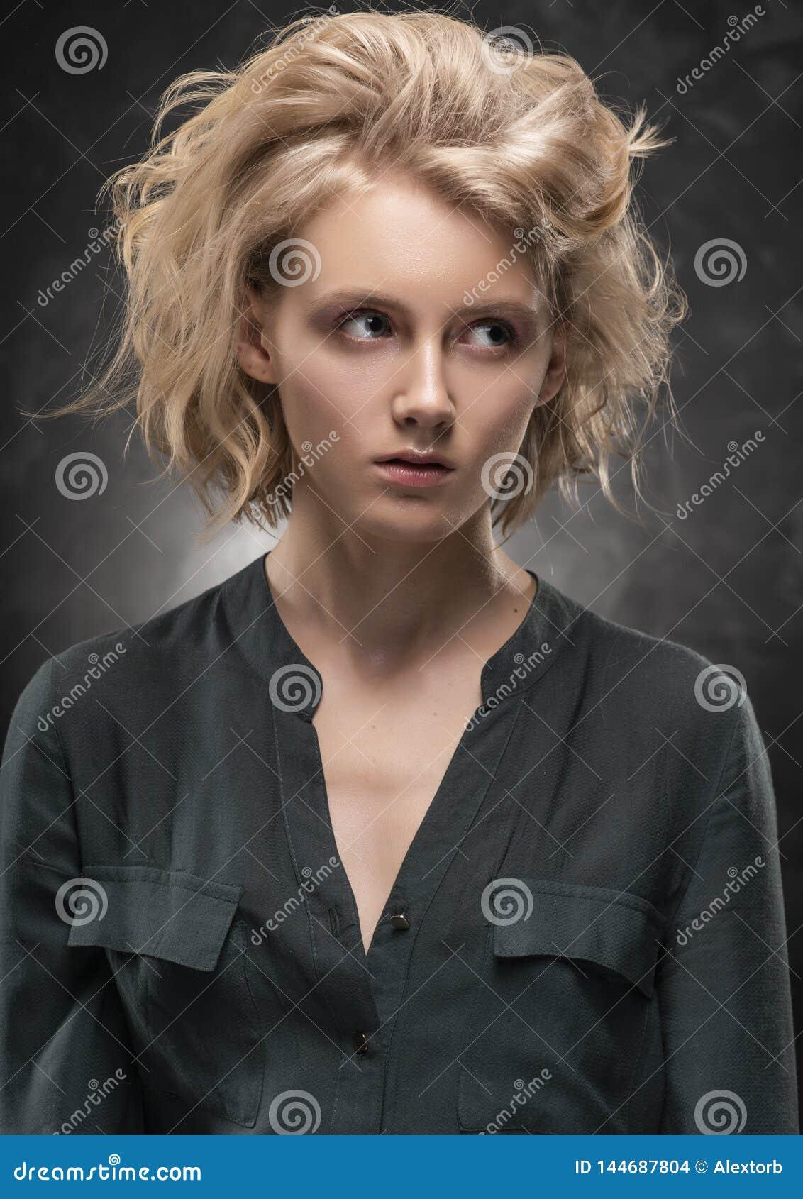 Serious Pretty Nude Blonde Posing Stock Photo - Image of