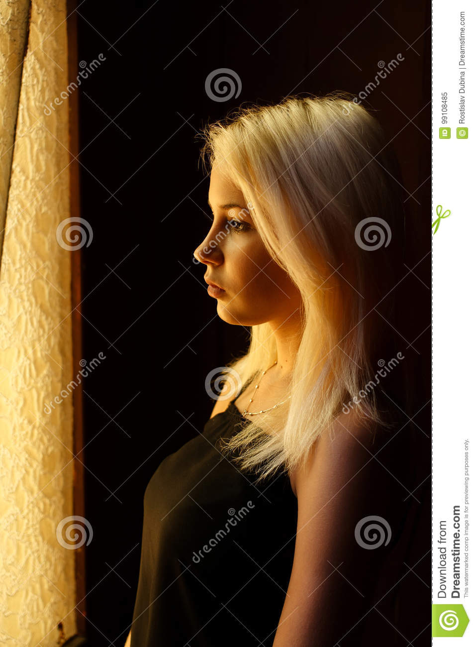 Beautiful young blonde girl. Dramatic portrait of a woman in the dark. Dreamy female look in twilight. Female silhouette.