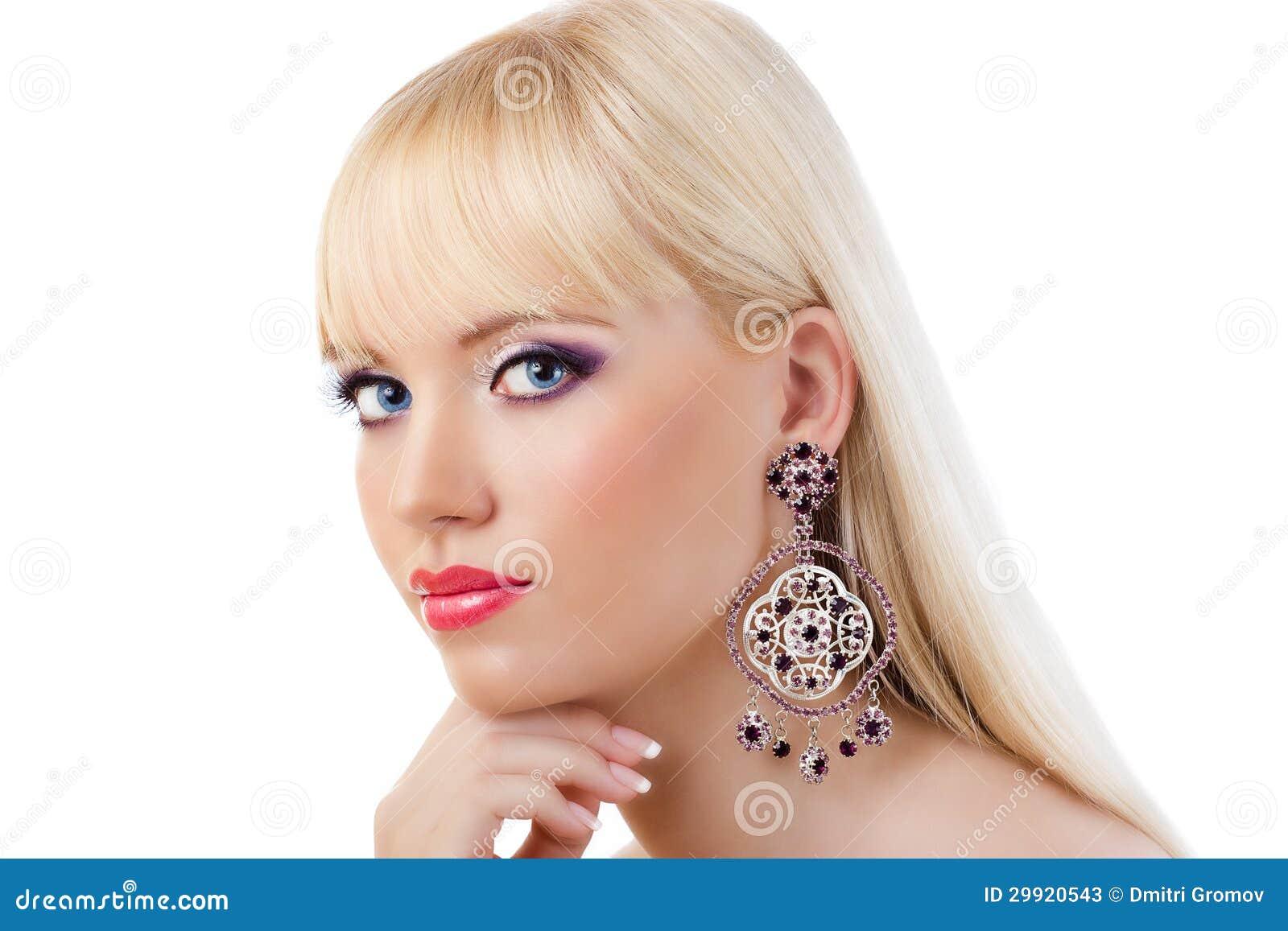 Beautiful Blonde Girl With Purple Makeup Stock Photos