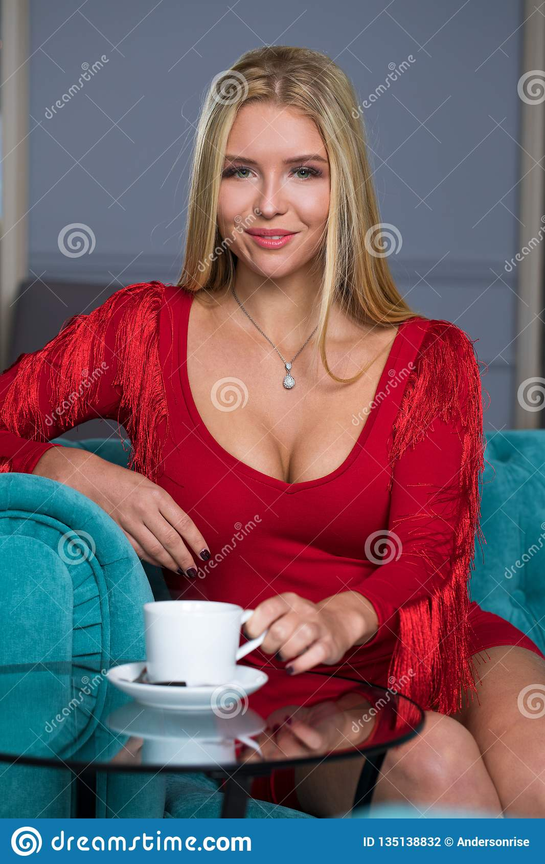 Glamour Stunning Fashion Brunette Woman Portrait Long Wavy