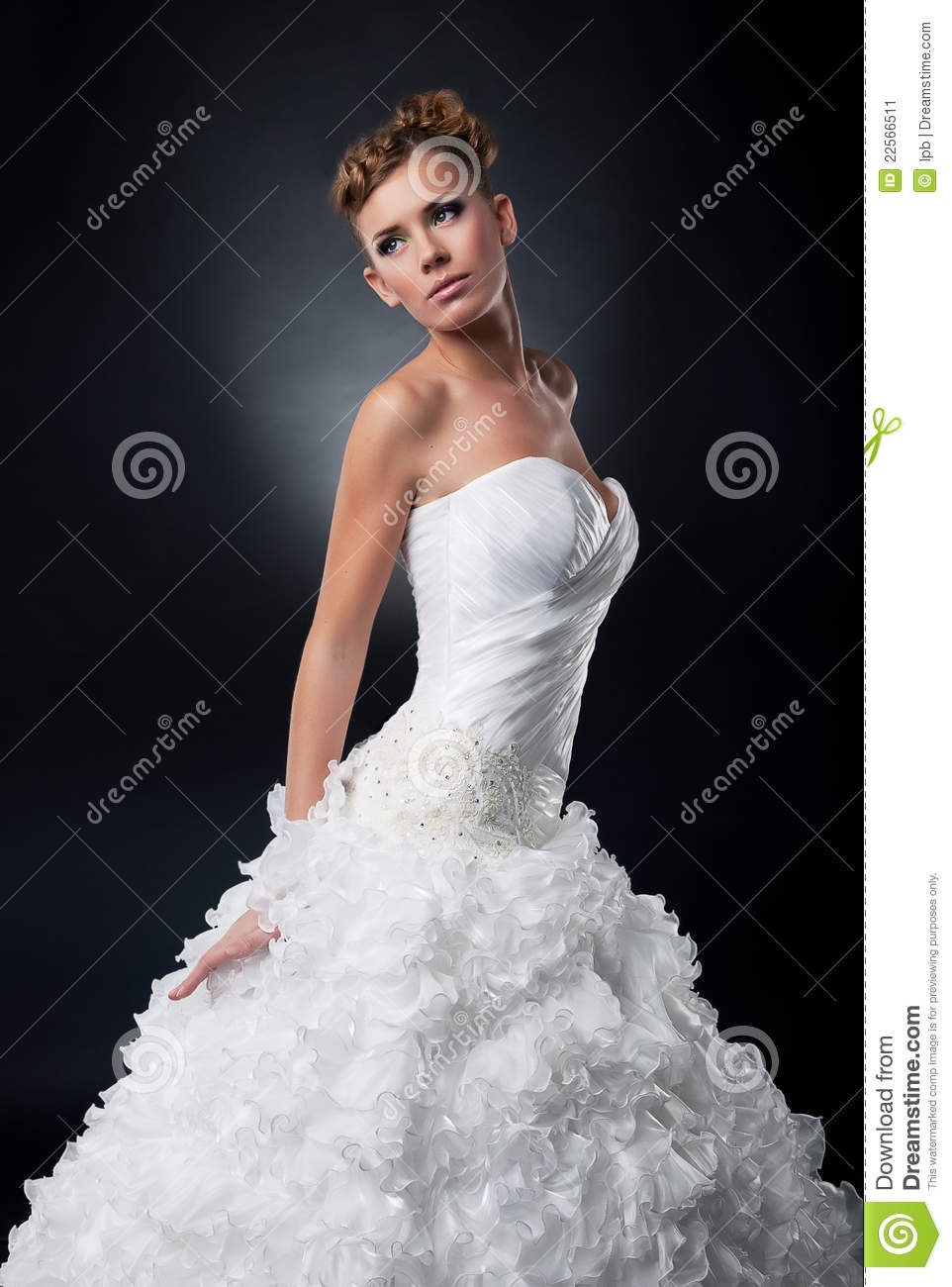 Beautiful young bride in bridal dress posing stock image for Wedding dresses for young brides