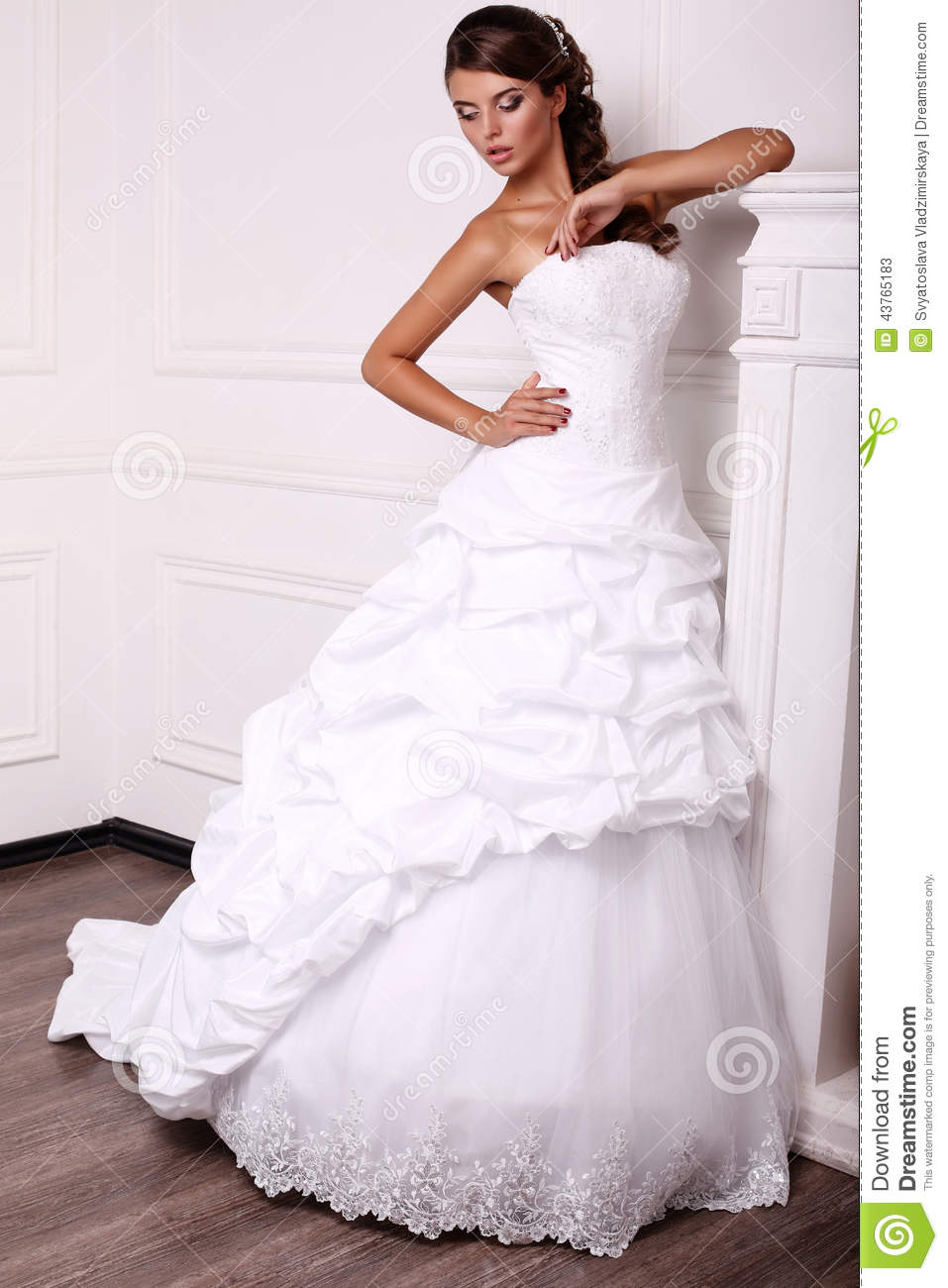 Beautiful Young Bride With Dark Hair In Wedding Dress Stock Image ...