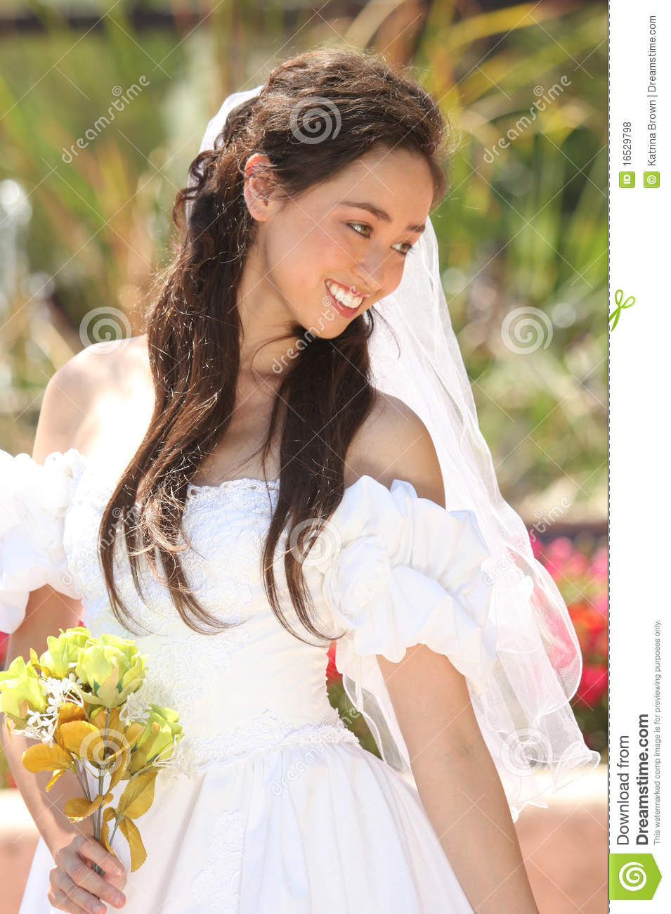 Beautiful Young Bride On Her Wedding Day Royalty Free