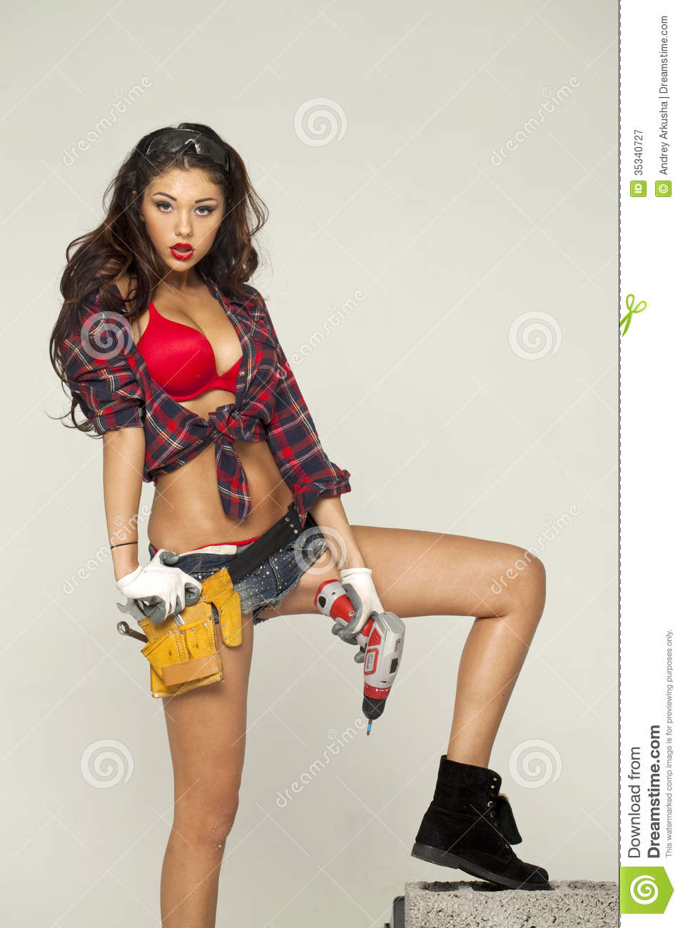 Beautiful Young Brunette In A Plaid Shirt Stock Image Image 35340727