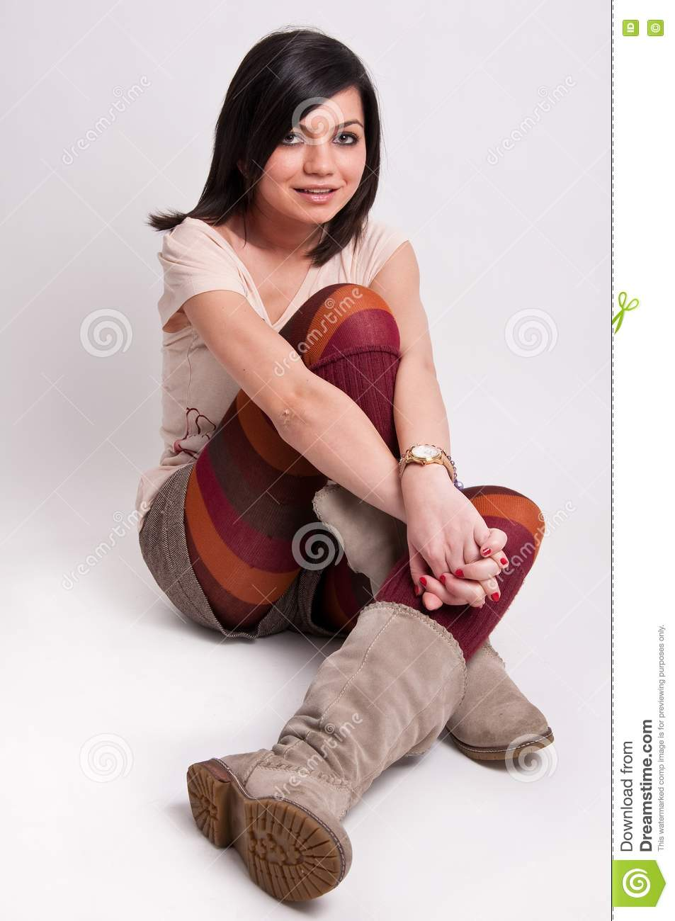 Beautiful Young Woman With Clean Fresh Skin Standing Over