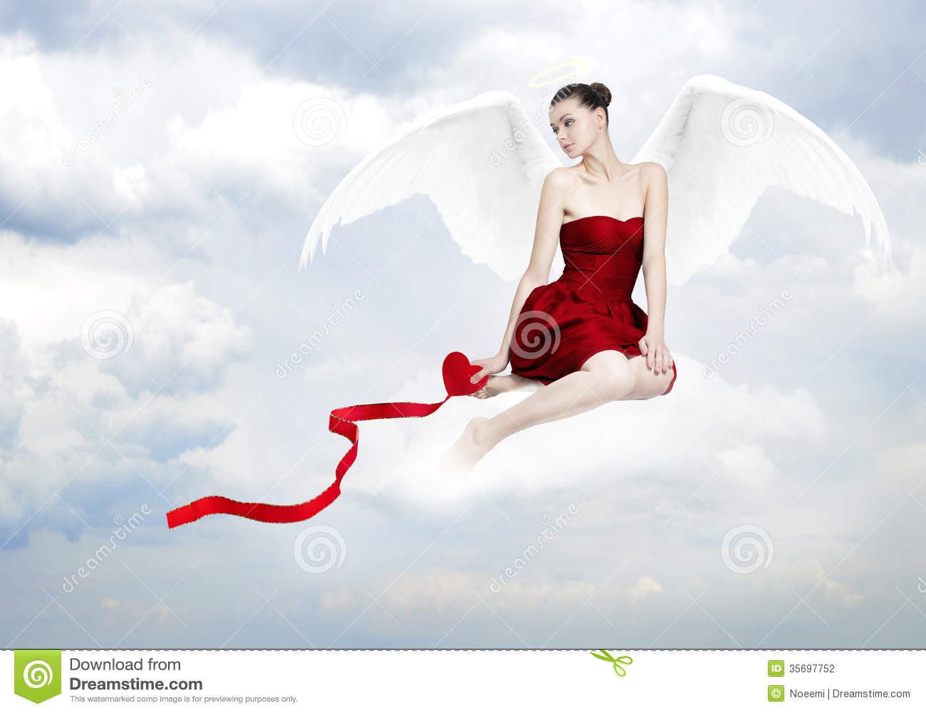 Beautiful young brunette woman as love angel