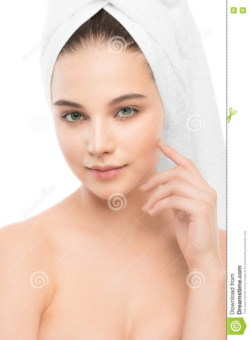 Beautiful Young Brunette Woman With Clean Face And Towel ...