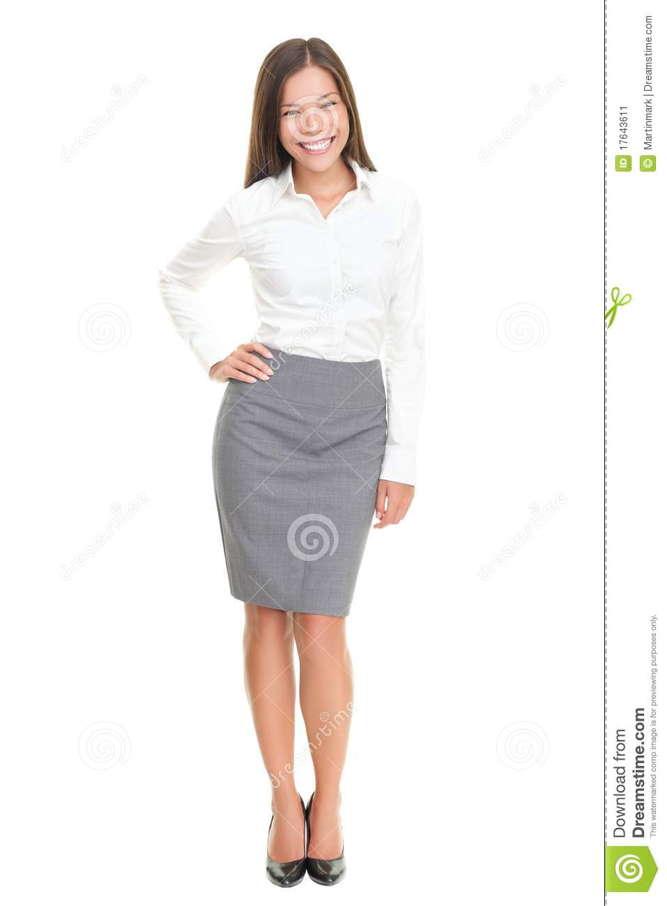 beautiful young business woman full body on white stock