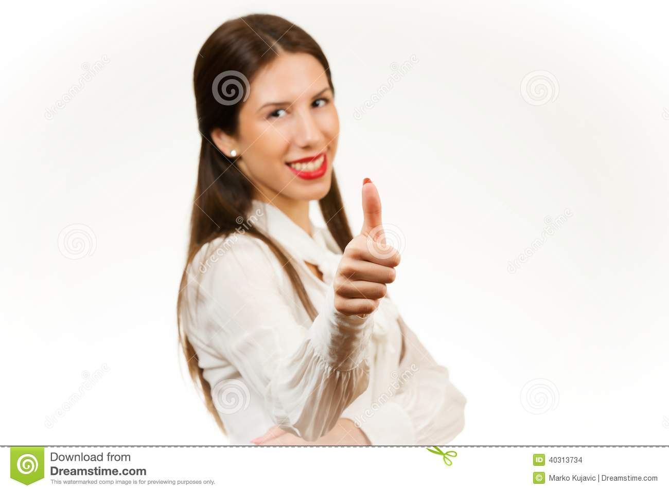 Beautiful young business woman, with her thumb up