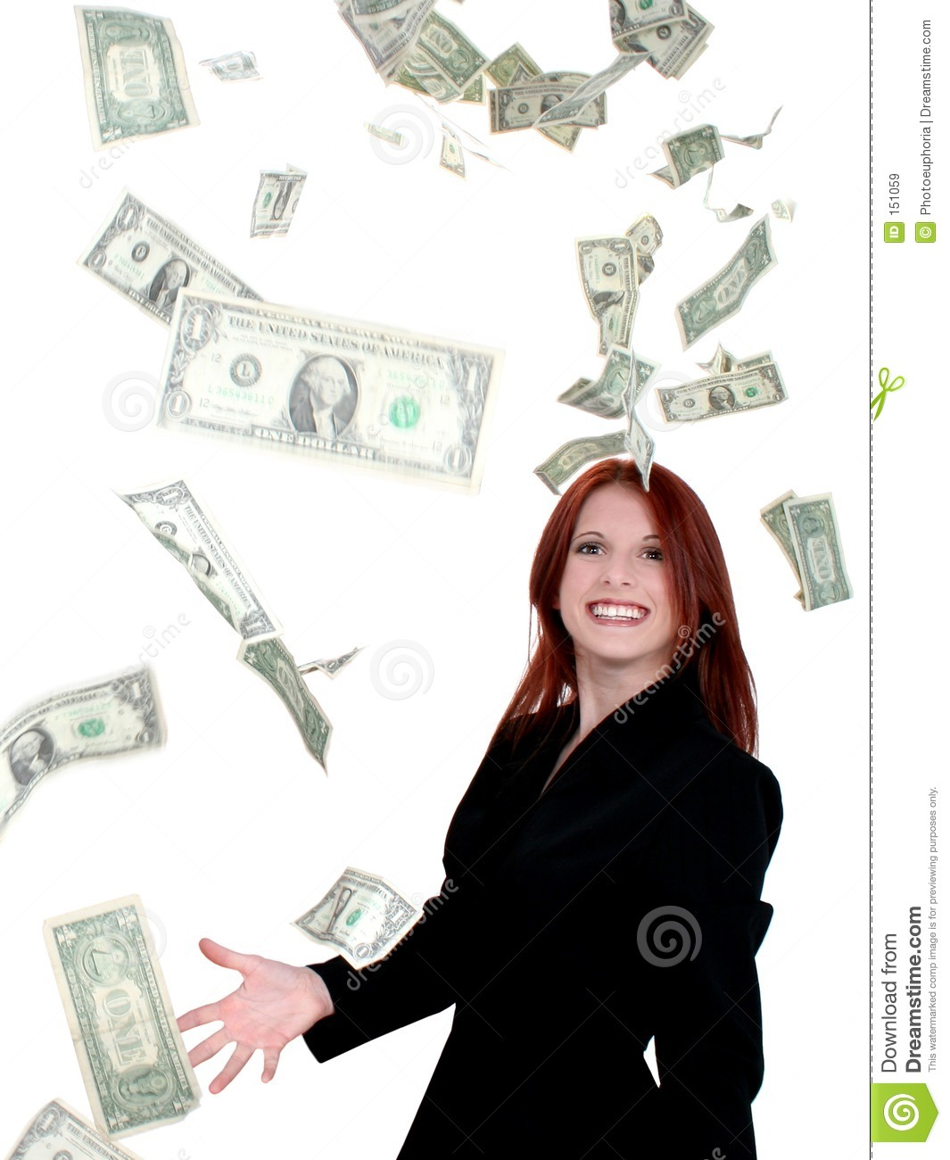 Beautiful Young Business Woman Throwing Money Into Air