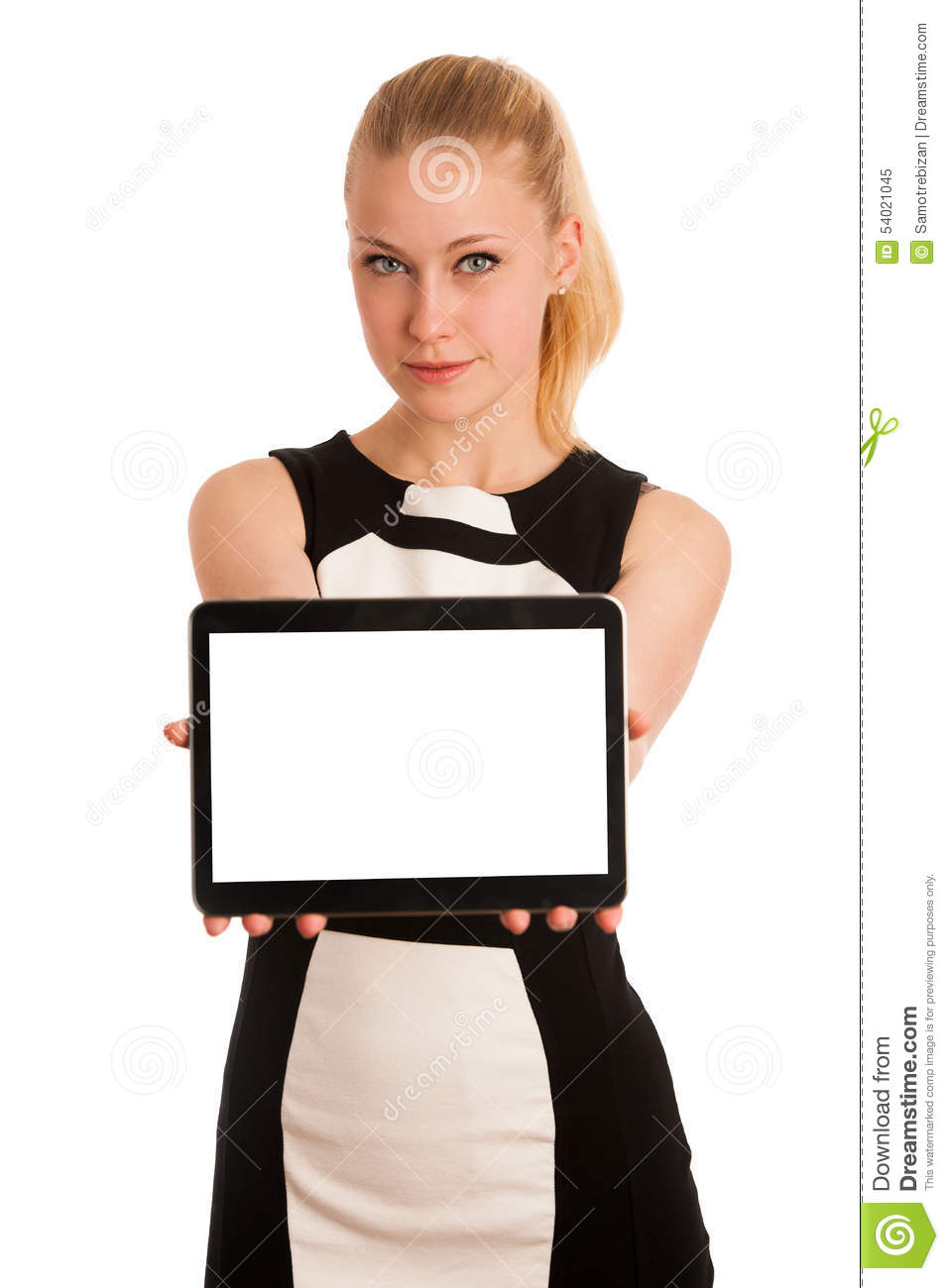 Beautiful young caucasian business woman with blond hair working