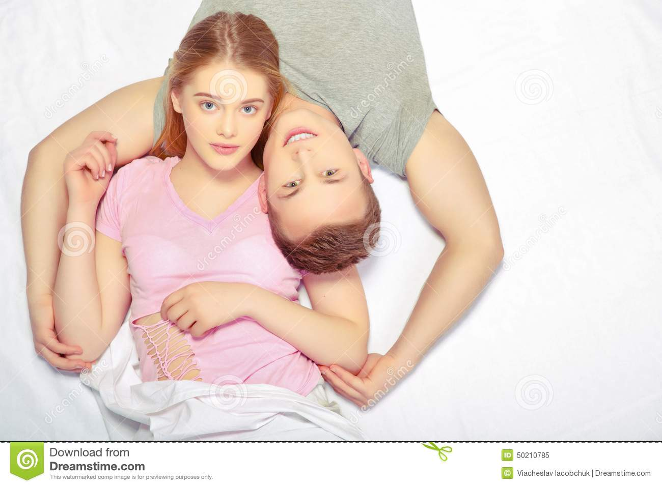 bed in Young couple
