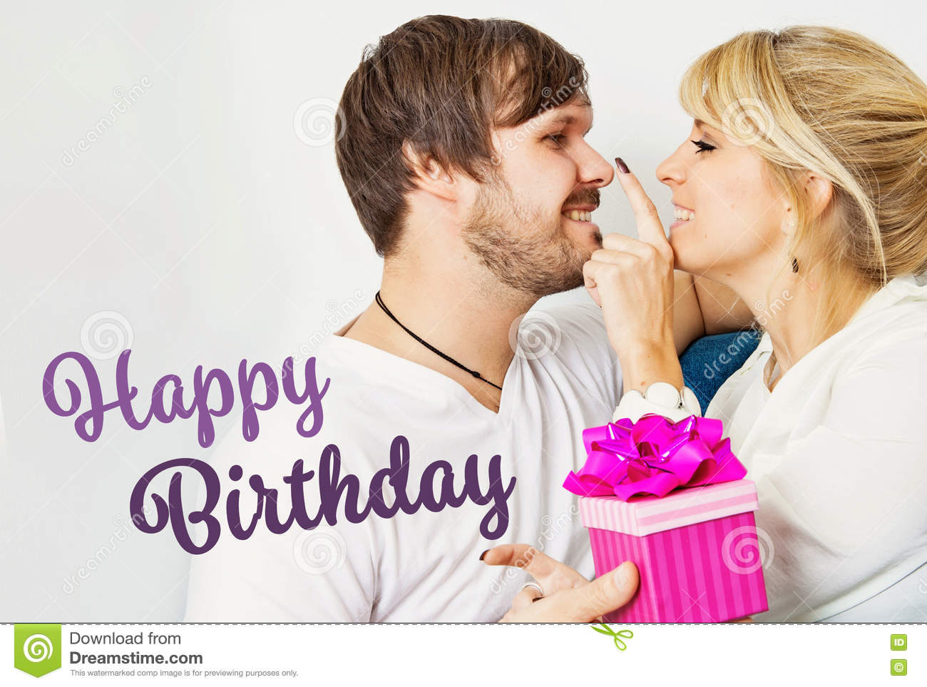Beautiful Young Couple In Love Happy Birthday Stock Photo