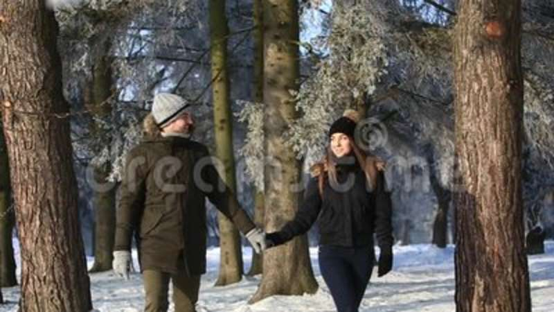 Beautiful young couple spend time in winter park. Christmas mood. Boy and girl love each other. They are dressed in. Winter clothes stock video
