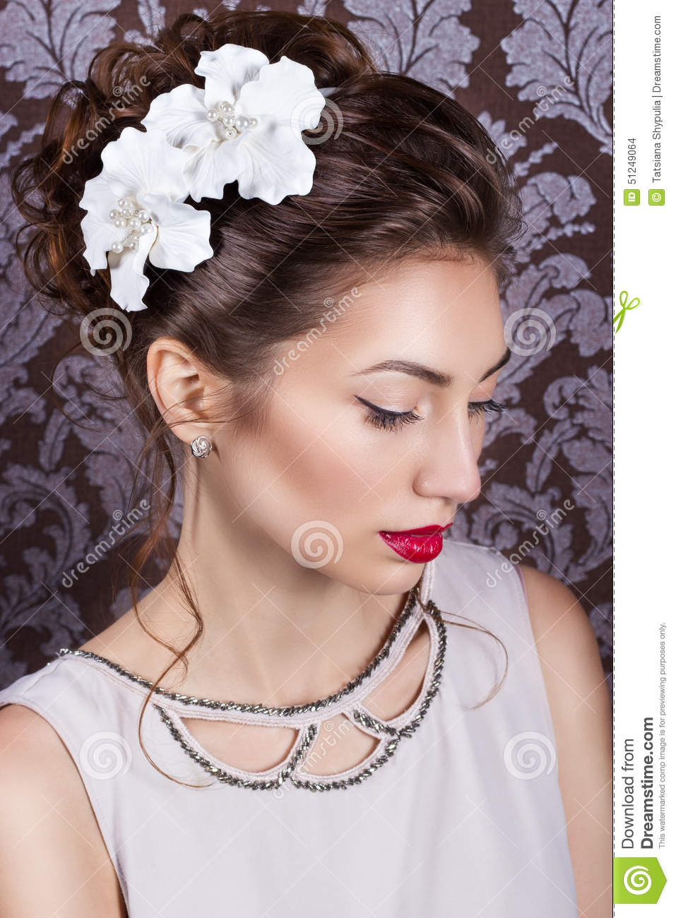 Beautiful Young Elegant Girl With Bright Makeup With Red Lips With - Wedding hairstyle download