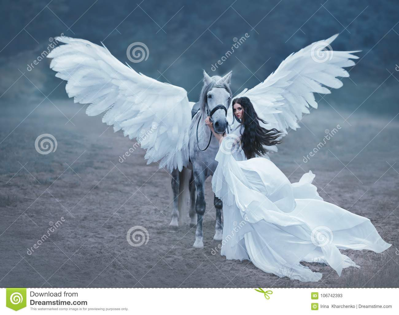 Beautiful, young elf, walking with a unicorn. She is wearing an incredible light, white dress. Art hotography