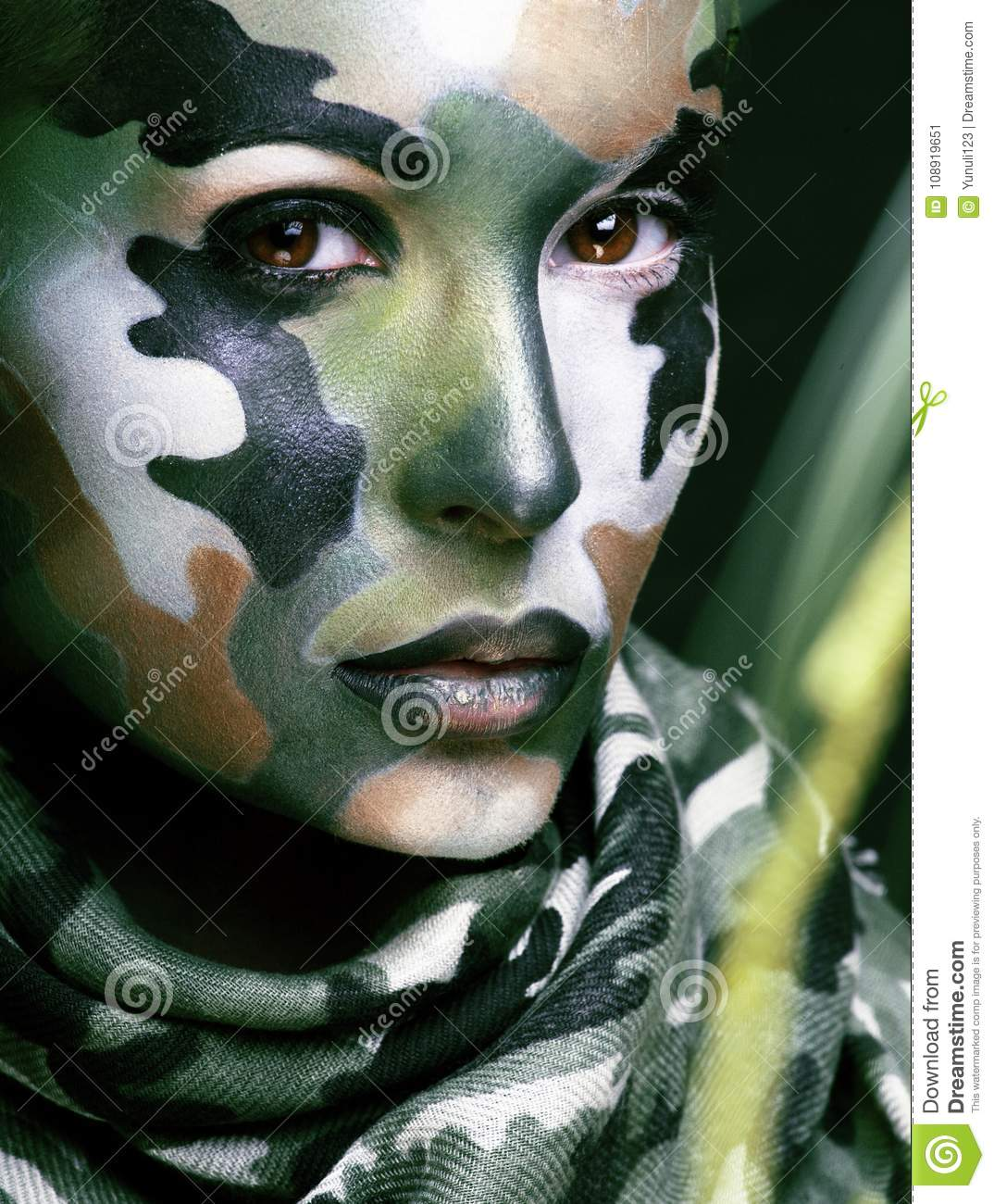 Military body paint women