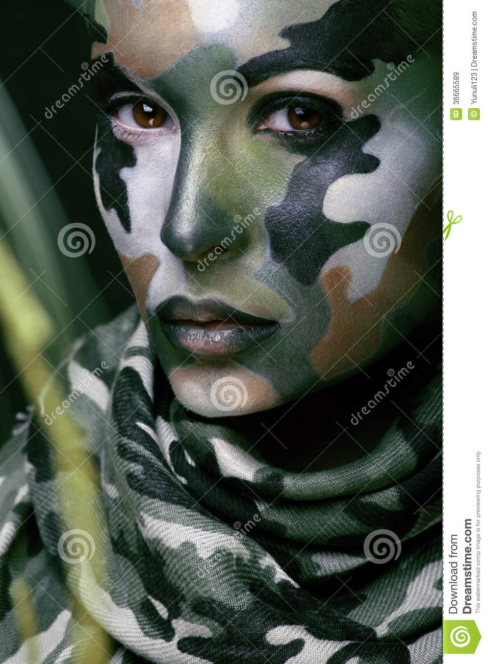 beautiful young fashion woman with military style clothing