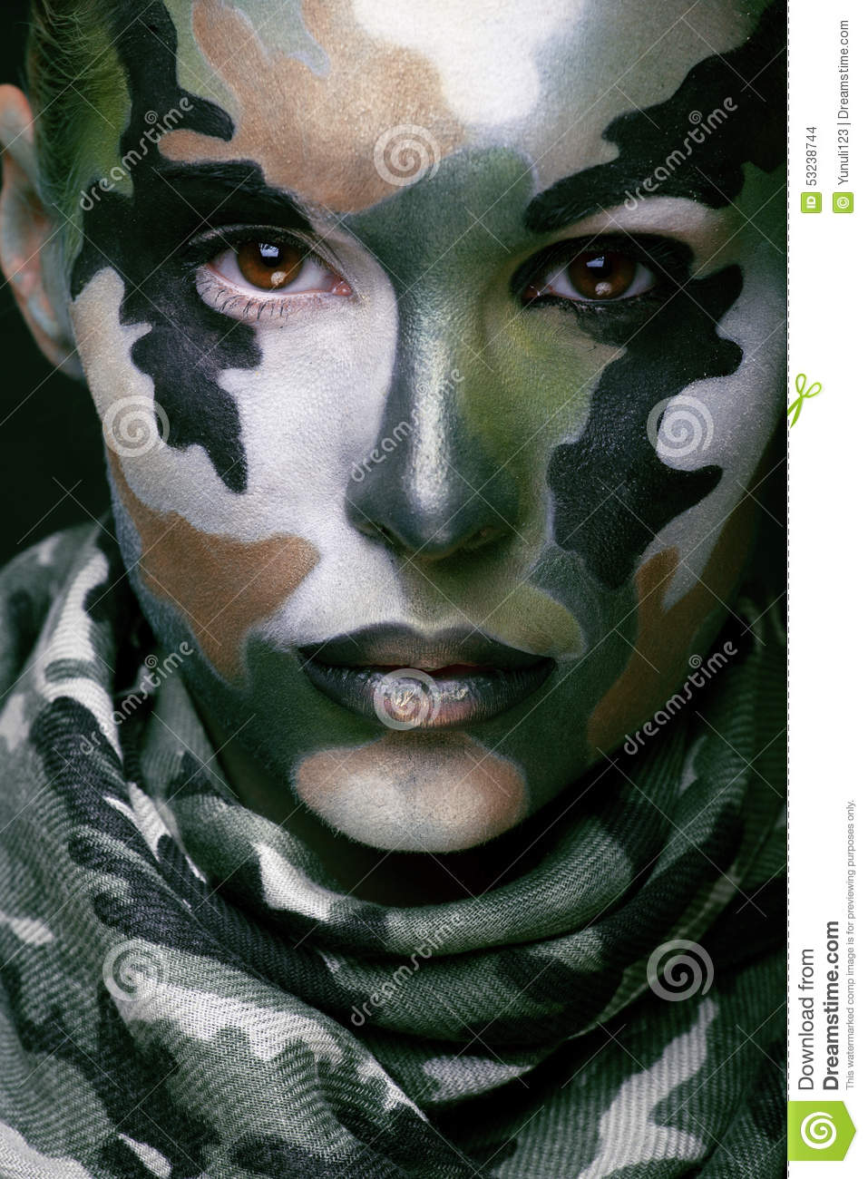 Beautiful Young Fashion Woman With Military Style Stock