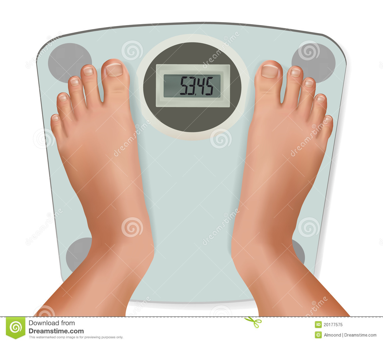 Beautiful Young Feet On The Scale Concept Of Diet Royalty