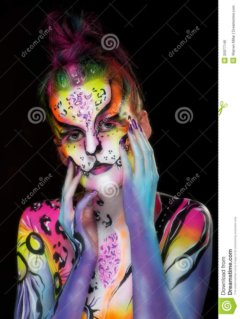 Beautiful Young Female With Full Body Paint Stock Photo ...