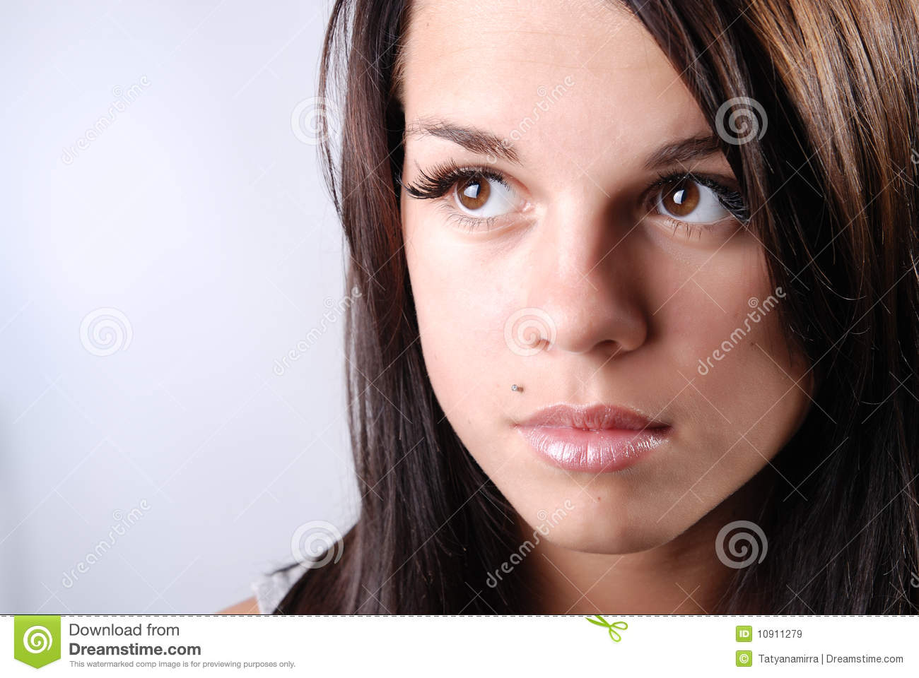 Beautiful young girl with big brown eyes stock image for Big beautiful women picture