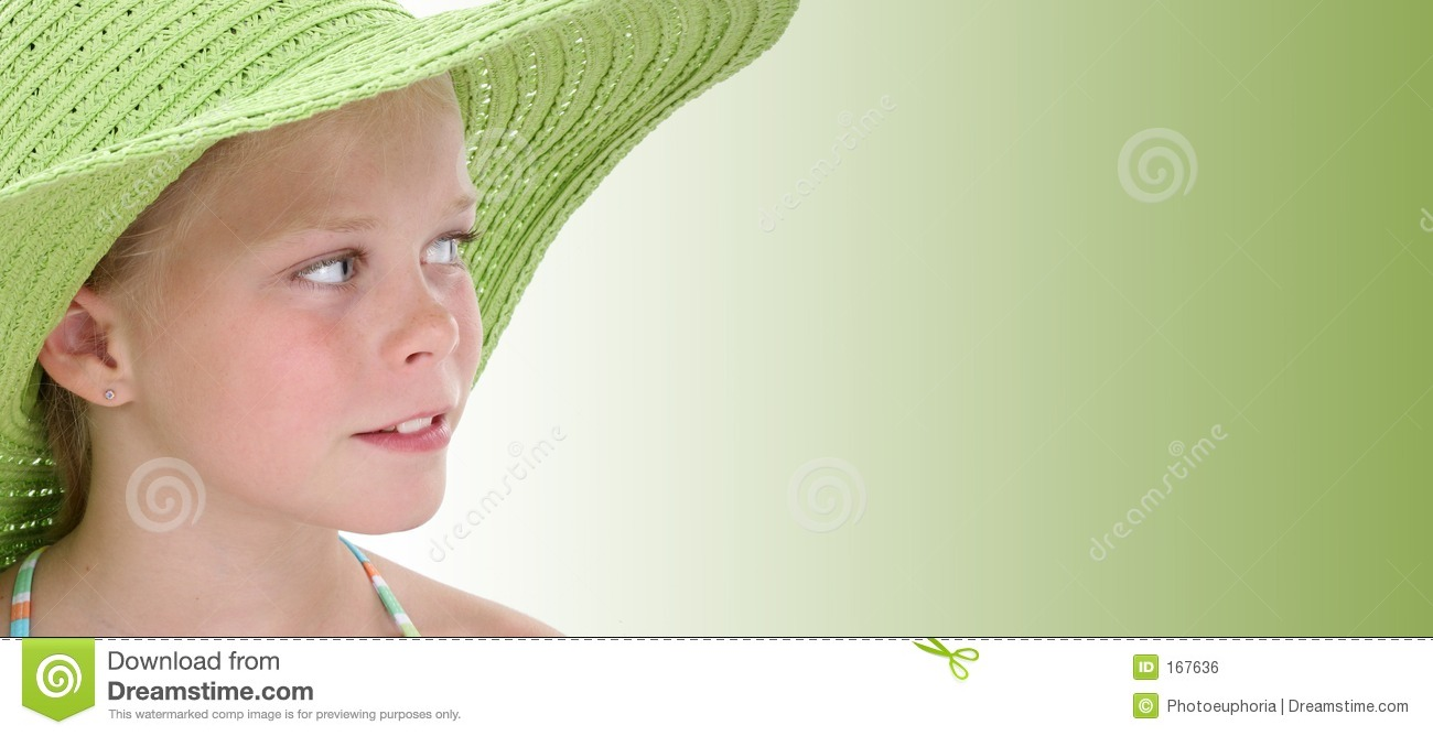 Beautiful Young Girl In Big Green Beach Hat Over Green