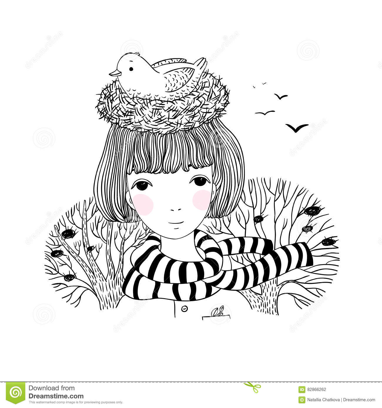 Beautiful Young Girl And A Bird In A Nest Stock Vector