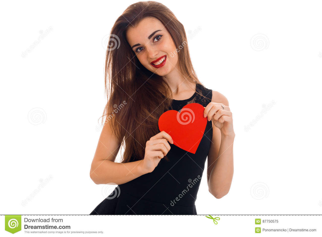 Black dress with red lipstick - Beautiful Young Girl In A Black Dress And Red Lipstick On Lips Holding A Heart Shaped
