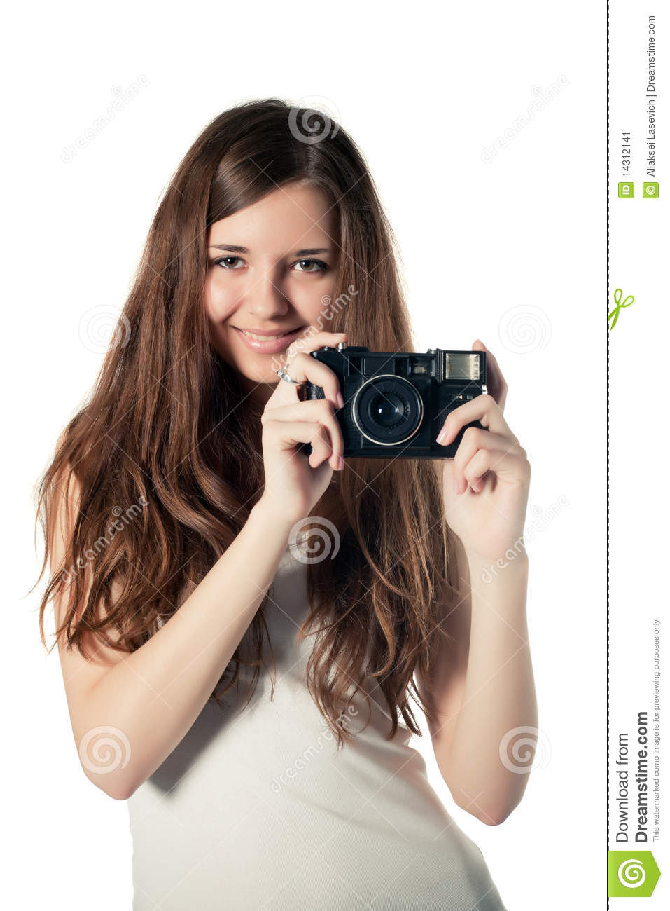 Beautiful girl with camera isolated
