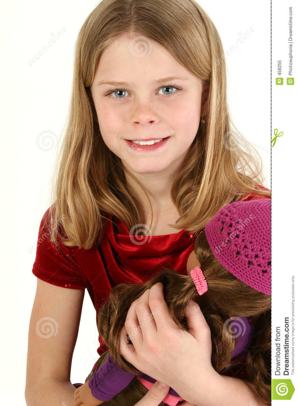 Download Beautiful Young Girl With Doll Stock Image - Image of child, female: 458255